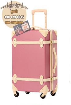 กระเป๋าเดินทางวินเทจ รุ่น colorful ชมพูกระปิคาดชมพูอ่อน ขนาด 24 นิ้ว