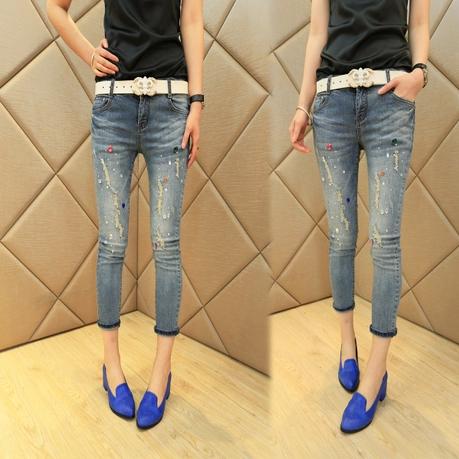 JW5705021 กางเกงยีนส์สาวเซอร์ 5 ส่วน เทห์ แฟชั่นสาวเกาหลี (พร้อมส่ง) 30,31