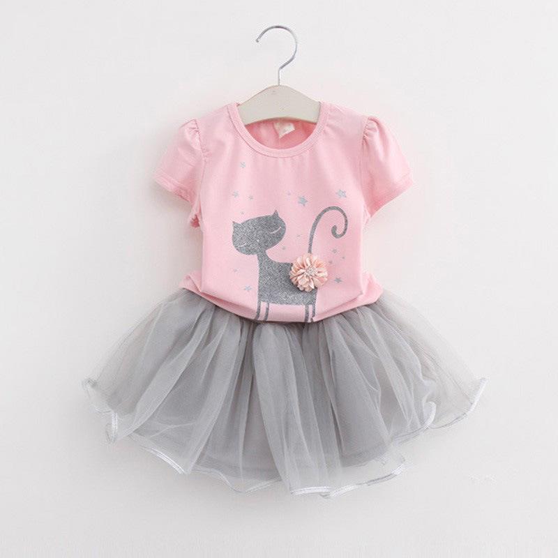 **ชุดเซ็ตกระโปรงแมวเงินเสื้อสีชมพู size= 100-140 | 5ชุด/แพ๊ค | เฉลี่ย 230/ชุด