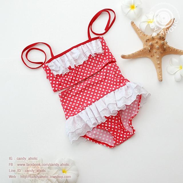 ชุดว่ายน้ำเด็ก สีแดงลายจุด ระบายลูกไม้สีขาว น่ารักน่าใส่