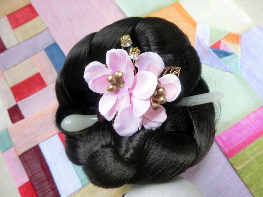 Hanbok hair pin ที่ปักผมฮันบก รุ่นดอกมูกุงฮวา สีชมพู