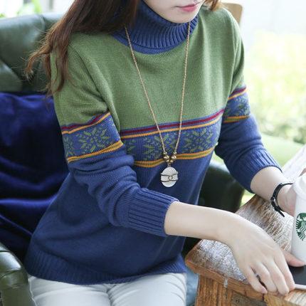 QW6003001 เสื้อคอเต่าไหมถักแฟชั่นเกาหลีพิมพ์ลายวินเทจ