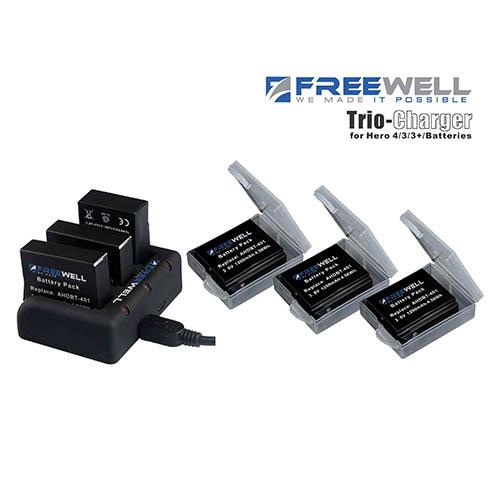 Freewell Charger Kit + 3 pack battery สำหรับ GoPro Hero4 ไม่มีมีปลั๊กกับอแดปเตอร์ รับประกันสินค้า 1 ปี
