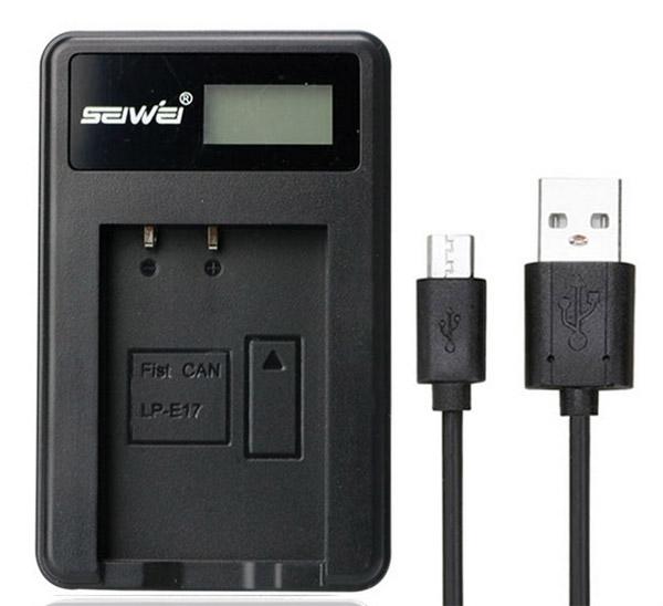 แท่นชาร์จแบตเตอรี่ USB สำหรับ CANON LP-E17 (EOS M3 EOS 750D 760D)