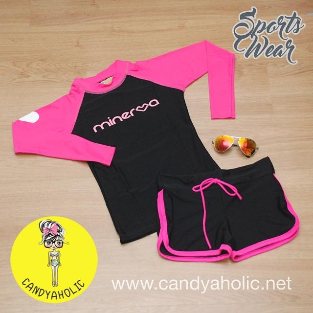 [Size S,M] ชุดว่ายน้ำ แขนยาว รุ่น Minerva (สีดำแขนสีชมพู) และ ขาสั้น