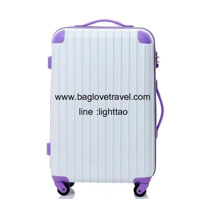 กระเป๋าเดินทางล้อลากไฟเบอร์ รุ่น colorful ขาวขอบม่วง ขนาด 20/24/28 นิ้ว
