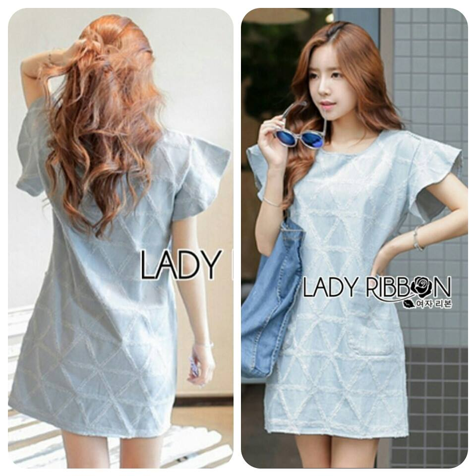Lady Jill Geometry Flared-Sleeved Brocade Denim Dress L193-69C05