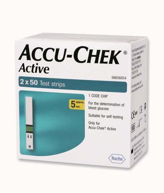 แผ่นตรวจน้ำตาล ACCU CHEK ACTIVE 100 แผ่น