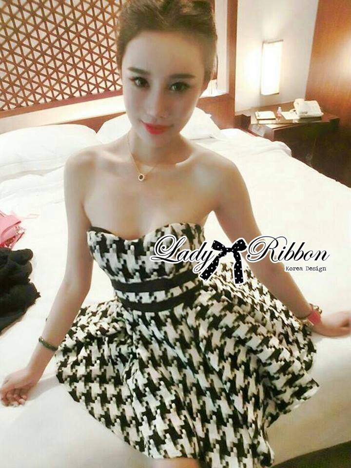 DR-LR-132 Lady Nicole Sexy Glam Strapless Houndstooth Dress