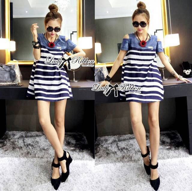 Lady Rita Casual Style Cut-Out Denim Striped Dress L213-65C05