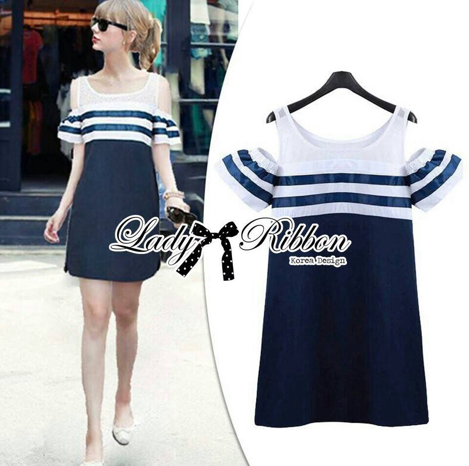 DR-LR-268 Lady Isla Glam Chic Navy Blue Striped Dress