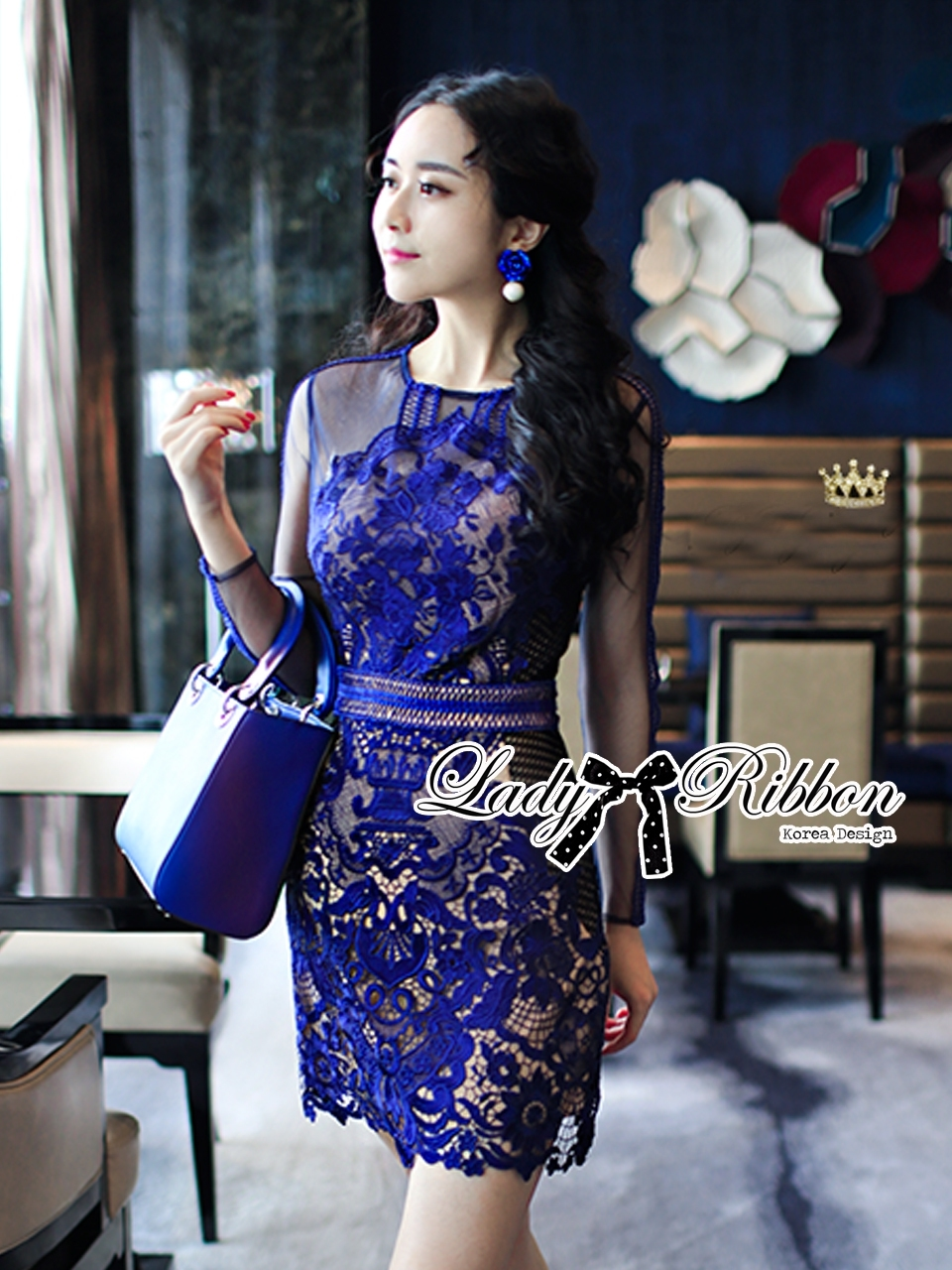 Lady Kate Desirable Sexy Lace Dress in Electric Blue L218-115C05