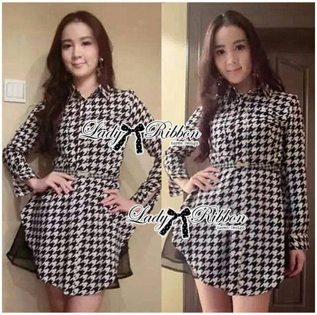 DR-LR-233 Lady Diana Glam Ruffle Houndstooth Shirt Dress