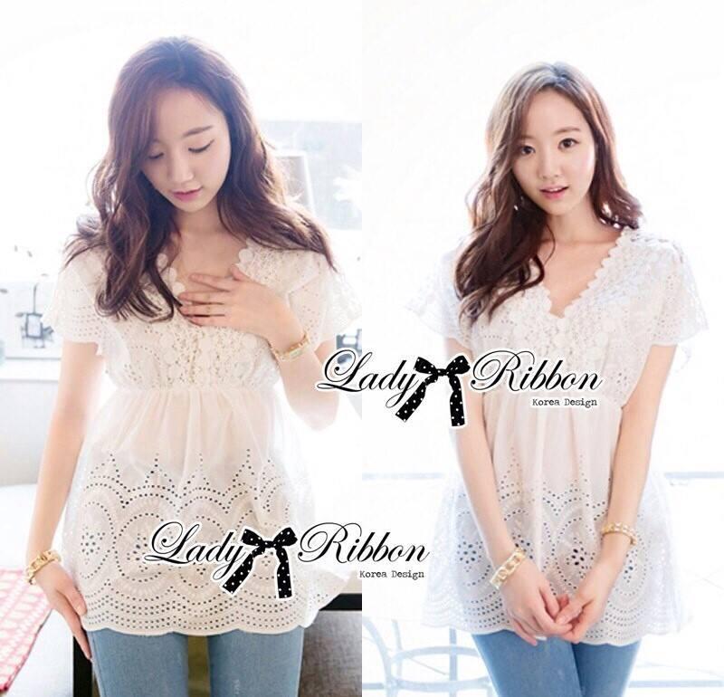 Lace V Collar Korea blouse L168-55C11