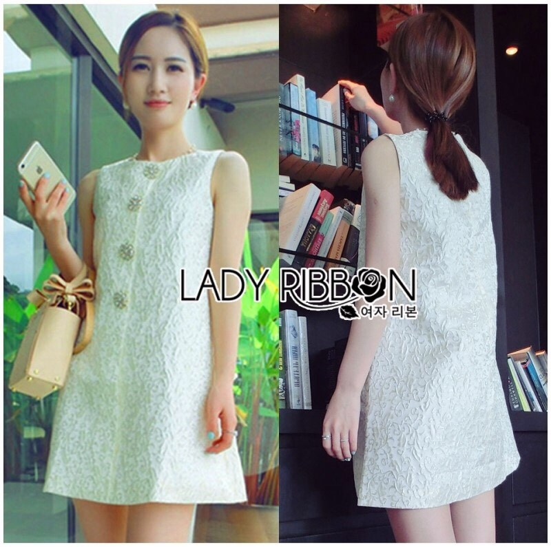 Lady Ashley Vintage Elegant Brocade Dress with Crystal Buttons L198-75C02