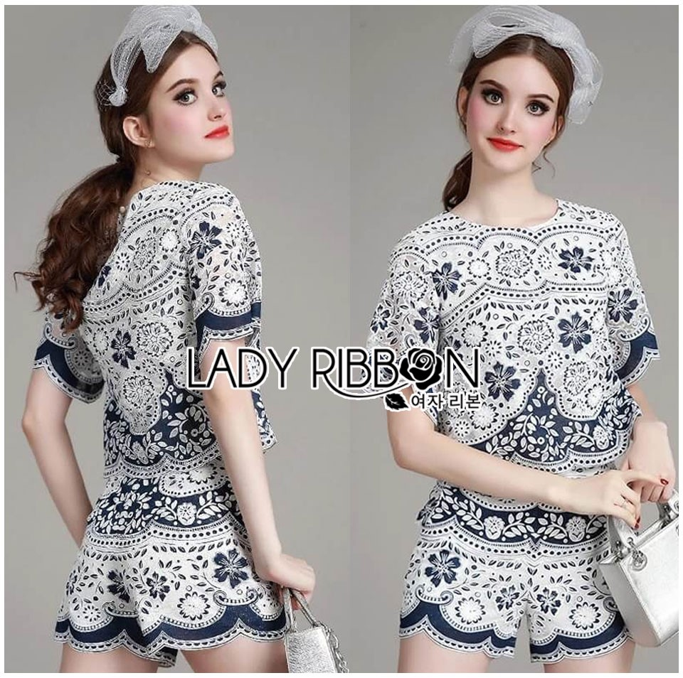 Lady Olivia Blue and White Flower Laser-Cut Cropped Top and Shorts Set L264-7904