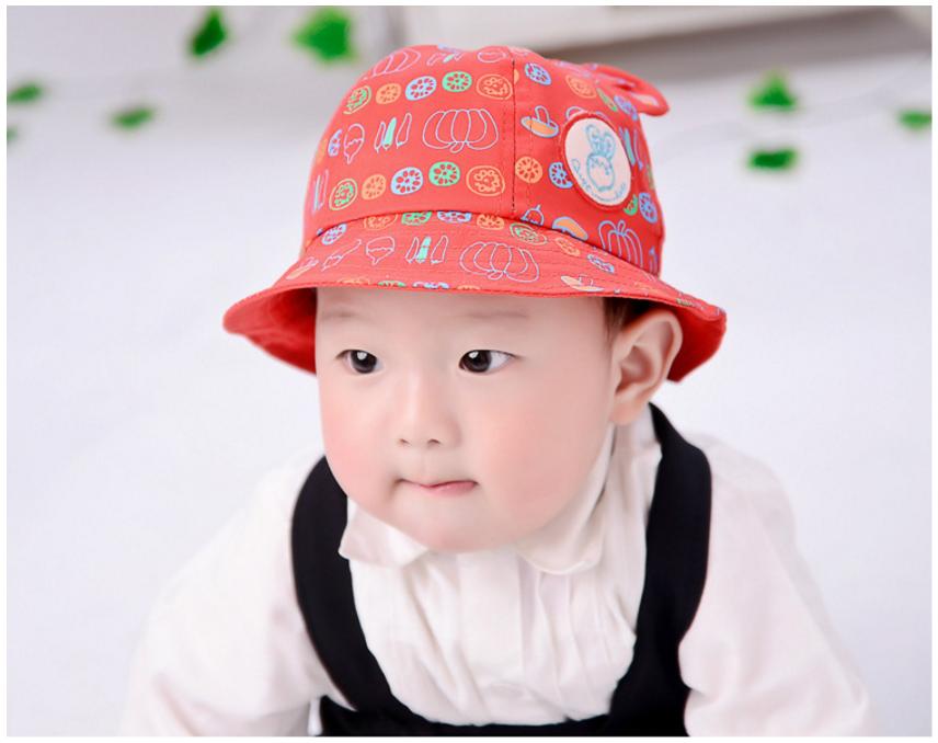 HT467••หมวกเด็ก•• / หมวกปีกกว้าง-นานาผัก (สีแดง)