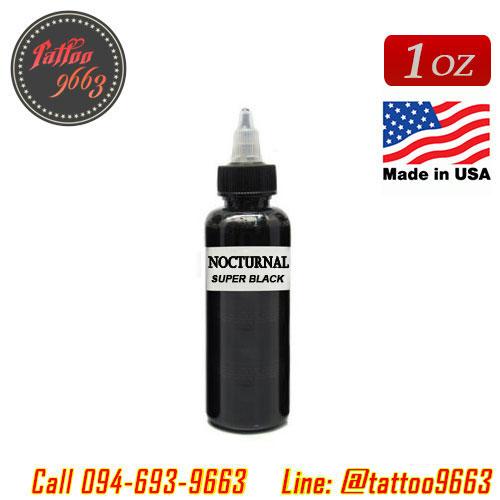 [NOCTURNAL] หมึกสักน็อคเทอร์นอล หมึกสักลายซุปเปอร์แบล็ค สีสักลายสีดำสนิทซุปเปอร์แบล็ก ขวดแบ่งขายขนาด 1 ออนซ์ สีสักนำเข้าจากประเทศอเมริกา American Jack Rudy & Franco Vescovi's Nocturnal Tattoo Ink Super Black (1OZ/30ML)