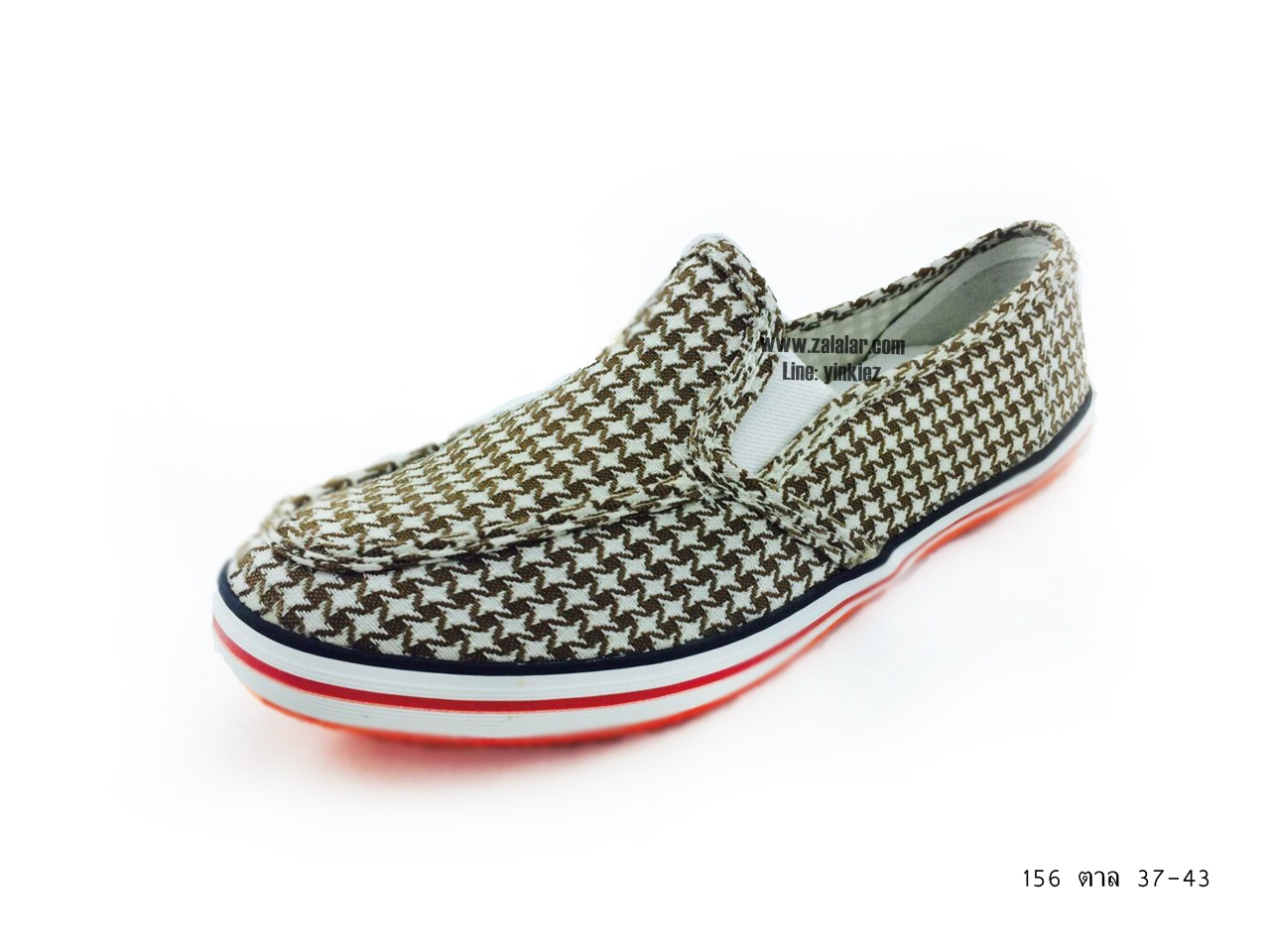[พร้อมส่ง] รองเท้าผ้าใบแฟชั่น รุ่น 156 สีน้ำตาล แบบสวม