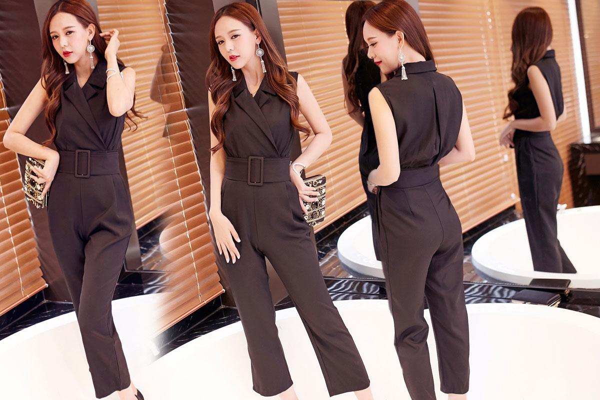 จั๊มสูทกางเกงขายาวสีดำ คอปก แขนกุด กางเกงขายาวทรงกระบอก แนวสวยเท่ น่ารัก