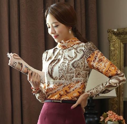 เสื้อทำงานผู้หญิงพิมพ์ลายโรมันสวยหรู คอเต๋า แขนยาว ราคาถูก