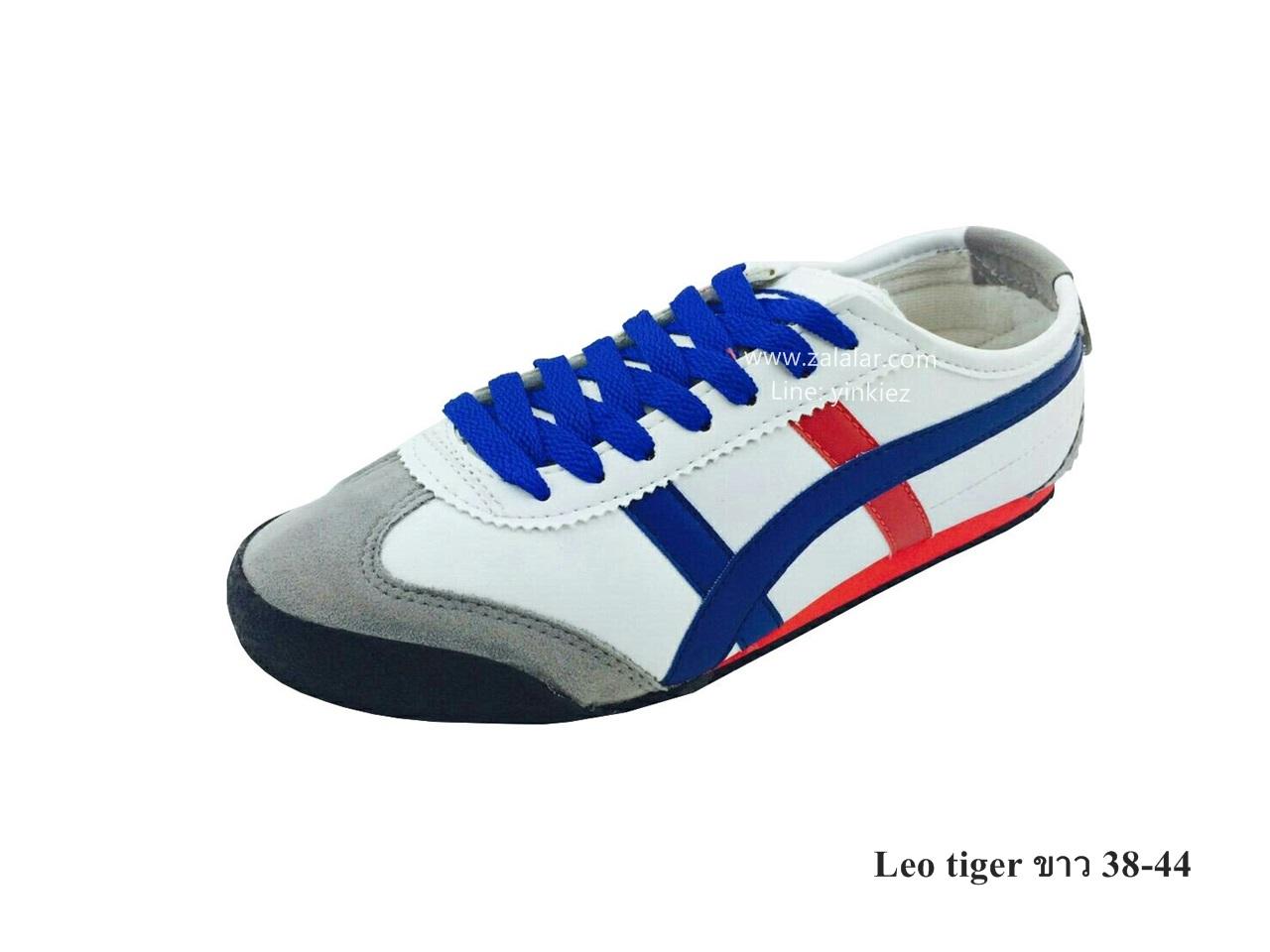 [พร้อมส่ง] รองเท้าผ้าใบแฟชั่น รุ่น Leo tiger สีขาว แบบหนัง