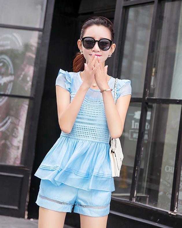 ชุดเซ็ทสองชิ้นเข้าชุดสีฟ้า สวยหรู ดูดี แฟชั่นสไตล์เกาหลี