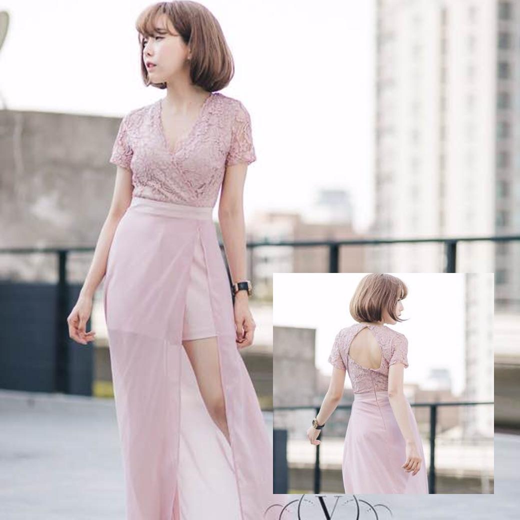 ชุดเดรสออกงาน/ไปงานแต่งงานสีชมพู เดรสกางเกงขาสั้นสีชมพู น่ารัก