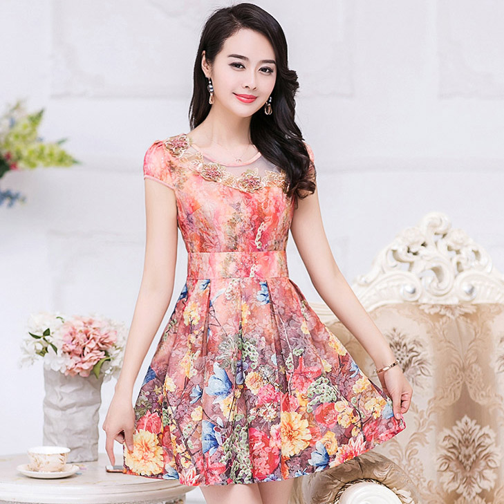ชุดเดรสทำงานสีส้มลายดอกไม้ แขนสั้น ช่วงอกปักดอกไม้สวยหรู แฟชั่นชุดทำงานออฟฟิศสวยหรู ดูดี ราคาถูก
