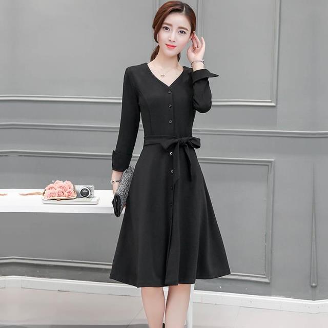ชุดเดรสทำงานสีดำ คอวี แขนยาว แฟชั่นชุดทำงานเรียบร้อย น่ารัก