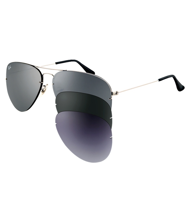 Ray Ban Flip Out Aviator RB3460 004/6G 59mm Silver Frame 3 Lens เปลี่ยนเลนส์ได้