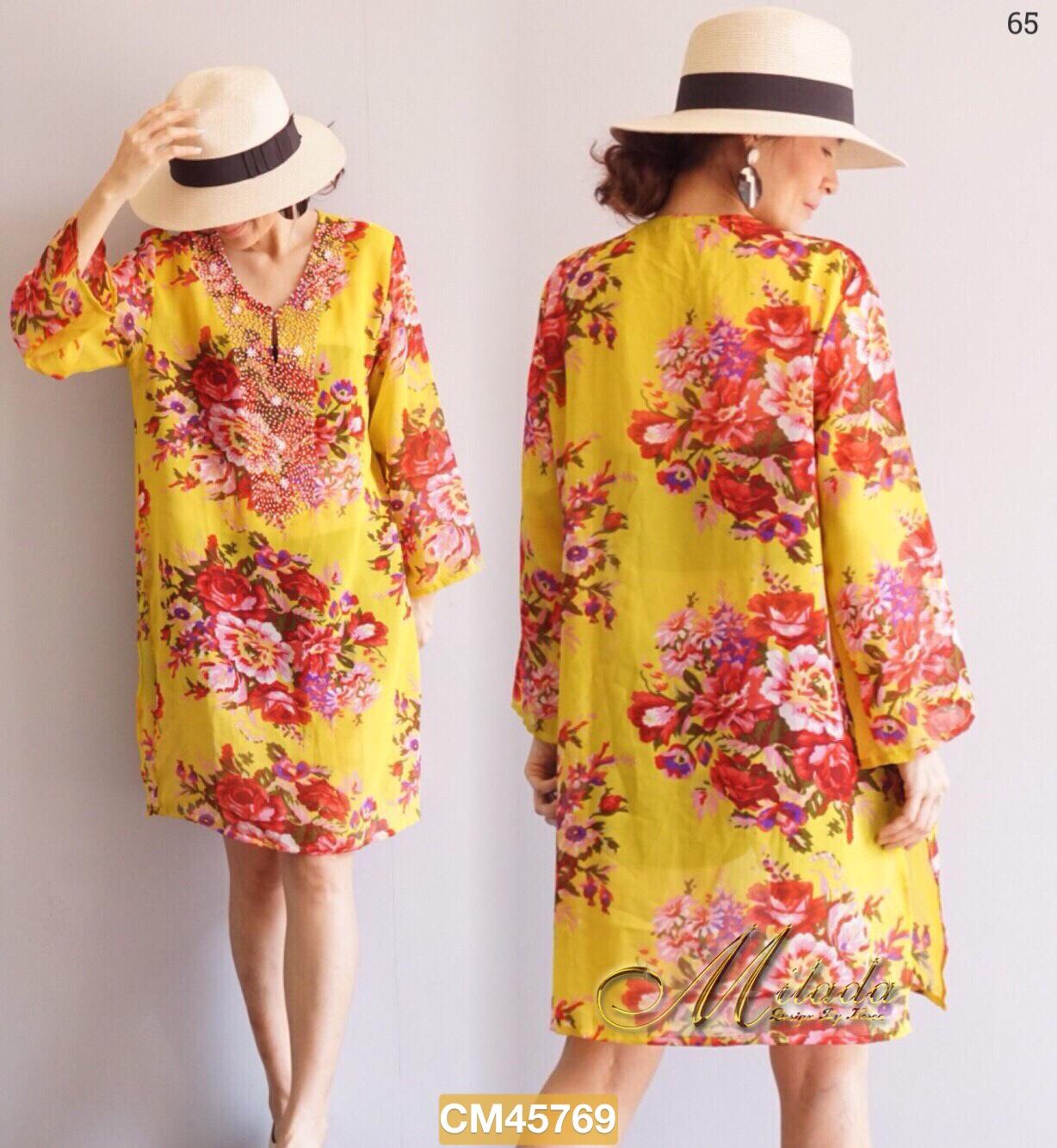 """CM769 *สีเหลือง* รอบอก44"""" Dress คอวี แขนยาว เนื้อผ้า Chiffon พิมพ์ลาย"""
