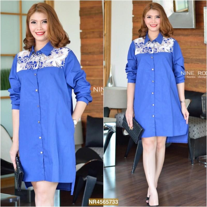 "NR733**สีน้ำเงิน**รอบอก 44"" Rose Lace Shoulder With Premium Korea Cotton Shirtdress"