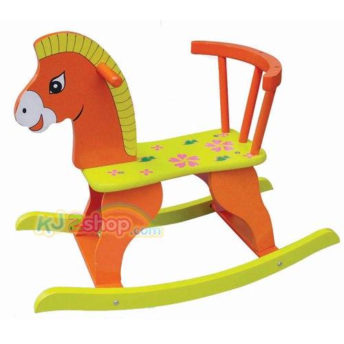 ม้าไม้โยกเยก..สีส้ม ...จัดส่งฟรี