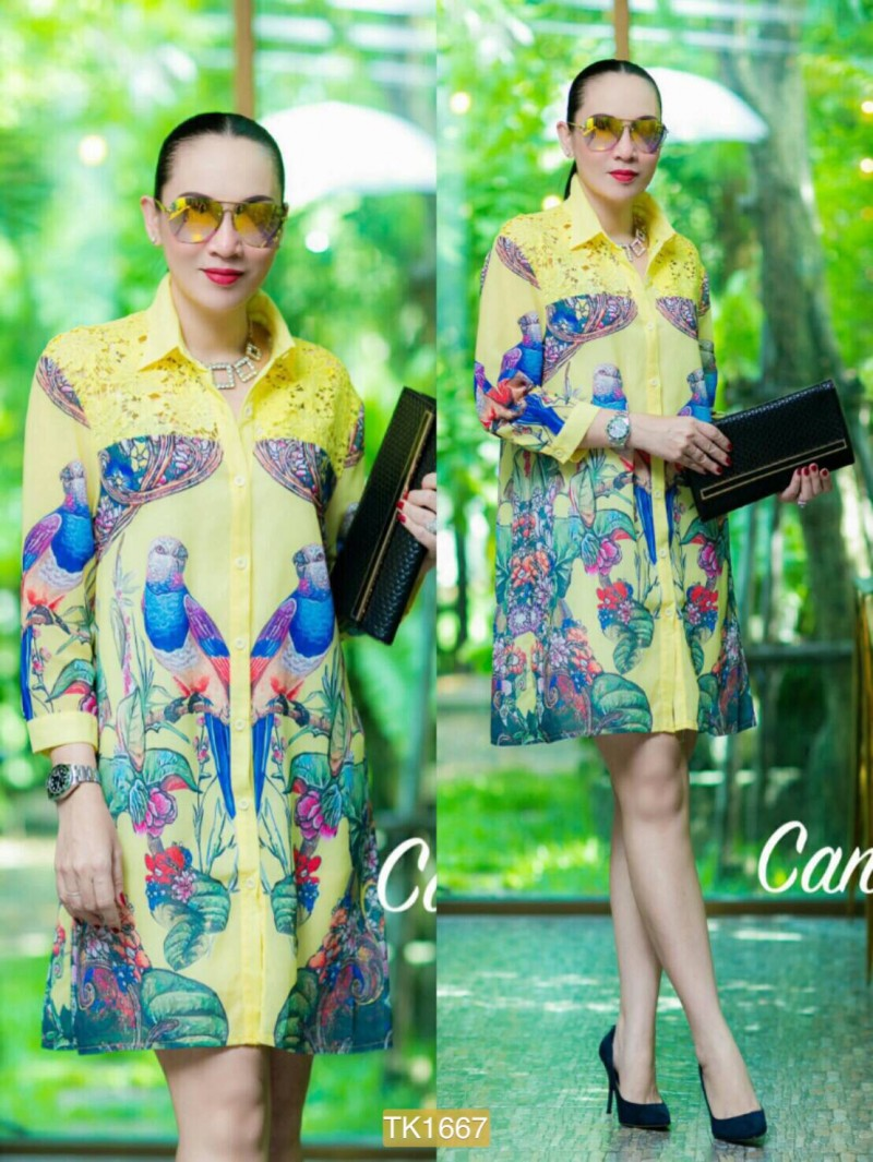 "TK1667**สีเหลือง**รอบอก44"" Zara shirt Oversize High quality chiffon and Lace bird flower"