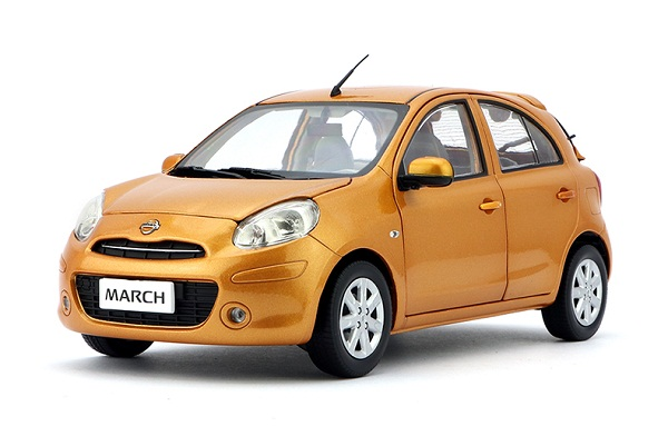 Pre Order โมเดลรถ โมเดลรถยนต์ Nissan March ส้ม 1:18 มีโปรโมชั่น