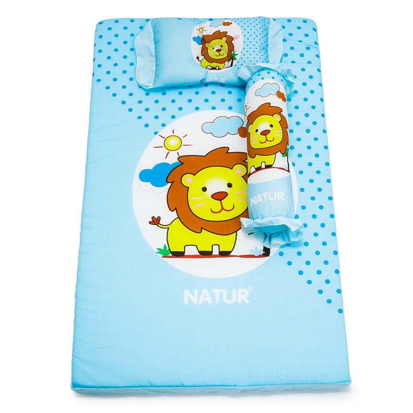 ชุดเบาะนอนทารก ผ้าฝ้ายหุ้มฟองน้ำ อย่างหนา สีฟ้า ยี่ห้อ Natur