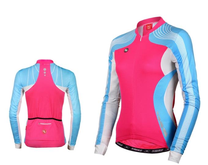 เสื้อปั่นจักรยานแขนยาวผู้หญิง SOUKE สีชมพูฟ้า : CL21011