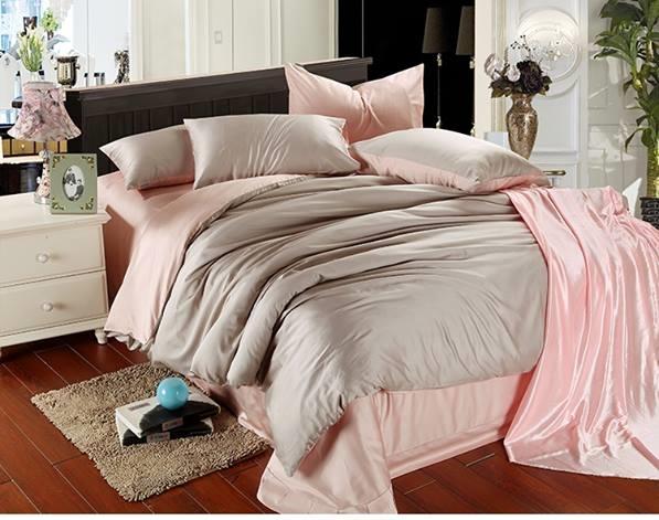 ผ้าปูที่นอน tencel สีเทา-ชมพู สีพื้น