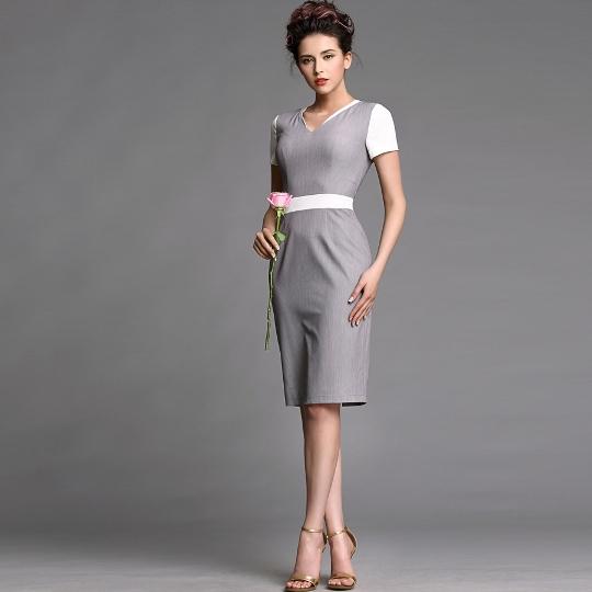 [พรีออเดอร์] ชุดเดรสผู้หญิงแฟชั่นเกาหลีใหม่ แขนสั้น แบบเก๋ เท่ห์ - [Preorder] New Korean Fashion Short-Sleeve Dress