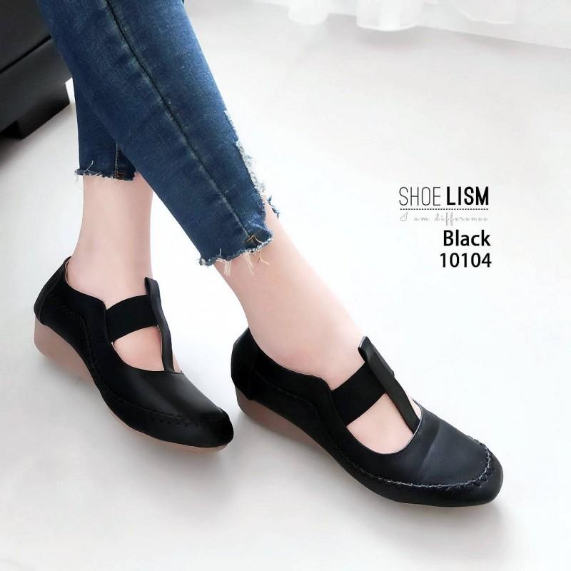 รองเท้าคัทชู ส้นเตี้ย แต่งตะเข็บสวยเรียบเก๋สไตล์วินเทจ คาดหน้ายางยืดนิ่ม ใส่สบาย ส้นสูง 1 นิ้ว แมทสวยได้ทุกชุด (10104)