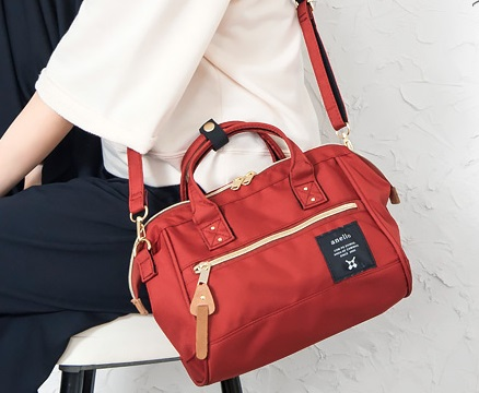Mini Anello Boston shoulder Bag Dark Orange (สีแดง)