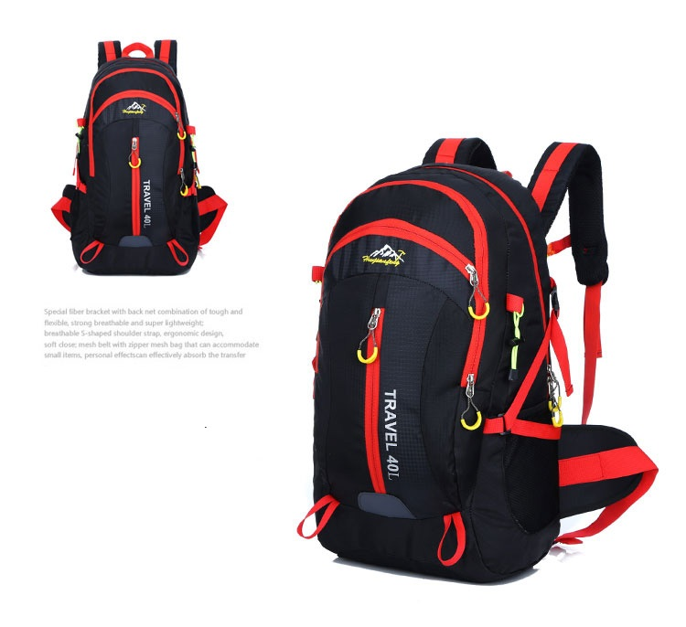 Outdoor mountaineering waterproof 40 ลิตร (สีดำ)