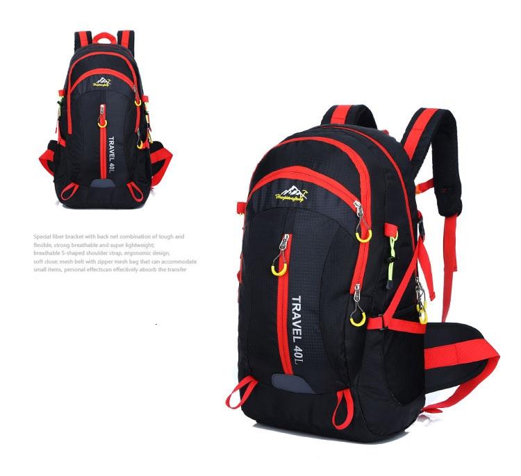 Outdoor mountaineering waterproof 40 ลิตร (สีดำ)