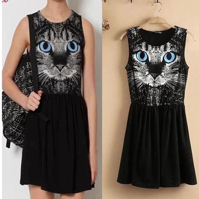 [พรีออเดอร์] ชุดเดรสผู้หญิงแฟชั่นยุโรปใหม่ แขนกุด พิมพ์หน้าแมว กระโปรงสั้น แบบเก๋ เท่ห์ - [Preorder] New European Fashion Printed Blue-eyed Cat Sleeveless Dress