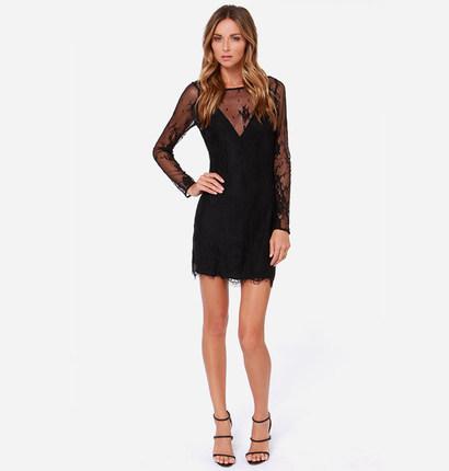 **พรีออเดอร์** ชุดเดรสชีฟองผู้หญิงแฟชั่นยุโรปใหม่ แขนยาว ลูกไม้ แบบเก๋ เท่ห์ / **Preorder** New European Chiffon Fashion Openwork Lace Stitching Long-Sleeved Dress