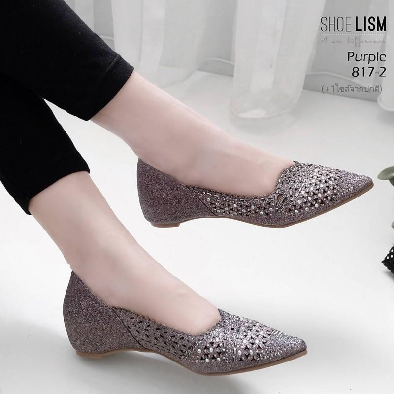 รองเท้าคัทชู ส้นเตารีด แต่งลายฉุลและหมุดคลิสตัลสวยหรู หนังนิ่ม ทรงสวย สูงประมาณ 2 นิ้ว ใส่สบาย แมทสวยได้ทุกชุด (817-2)