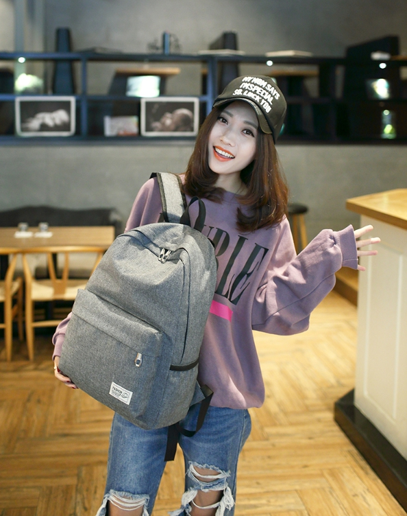 Solid shoulder female bag (สีเทา)