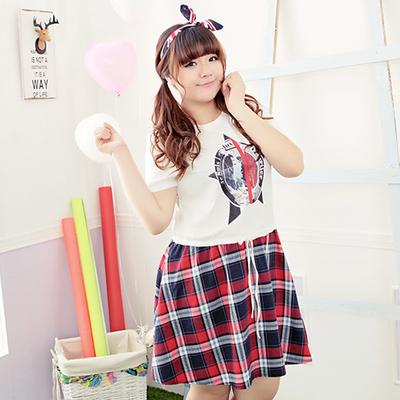 [พรีออเดอร์] เสื้้อพร้อมกระโปรงแฟชั่นเกาหลีใหม่ แขนสั้น สำหรับผู้หญิงไซส์ใหญ่ - [Preorder] New Korean Fashion Short-Sleeved T-Shirt with Skirt for Large Size Woman