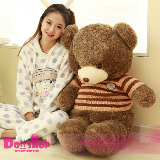 ตุ๊กตาหมีใส่เสื้อลายทางน้ำตาล 1.6 เมตร